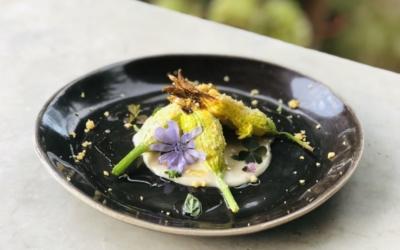 Fiori di zucca ripieni di ricotta al forno, salsa di alici ed Evo di Raggiola