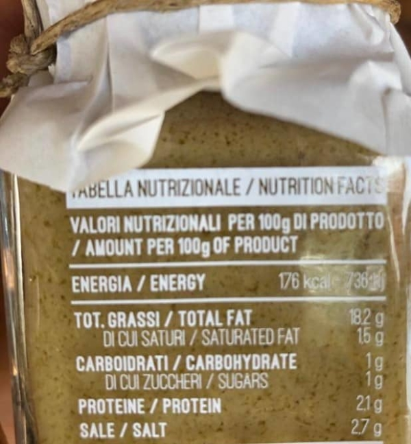 Patè valori nutrizionali 1