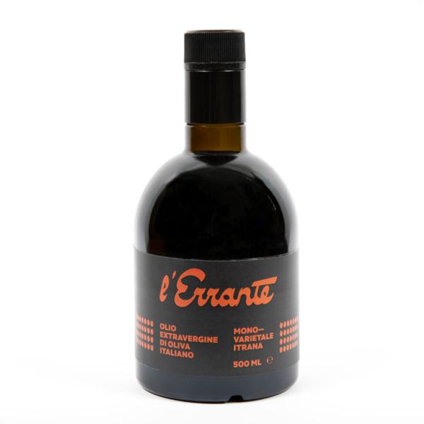 bottiglia di olio extravergine monovarietale di itrana l'errante