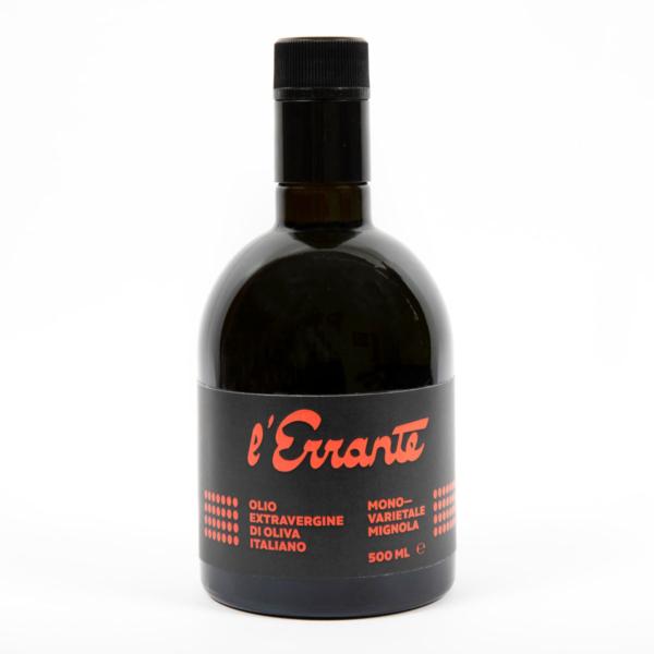bottiglia olio extravergine monovarietale di mignola l'errante