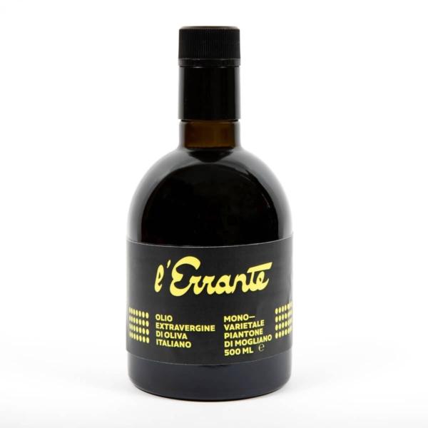 bottiglia olio extravergine monovarietale di piantone di mogliano l'errante